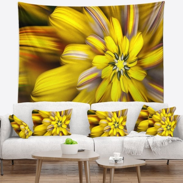 Designart 'Massive Yellow Fractal Flower' Floral Wall Tapestry