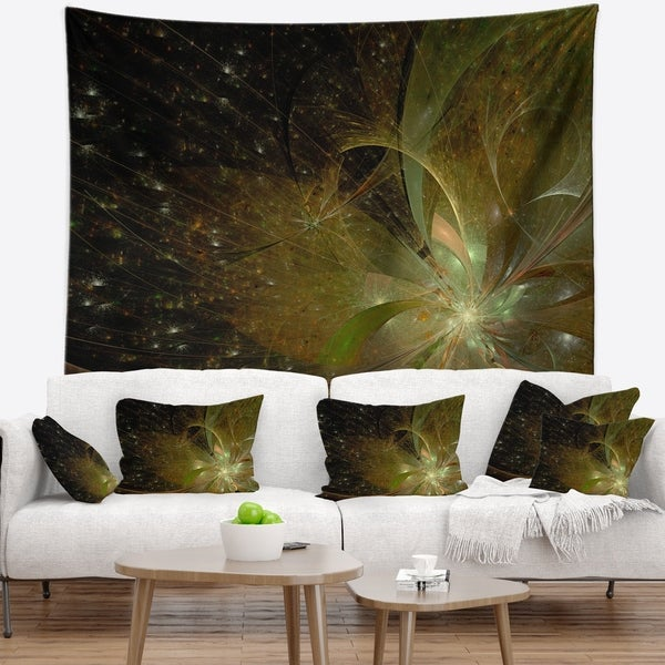 Designart 'Light Golden Symmetrical Fractal Flower' Floral Wall Tapestry