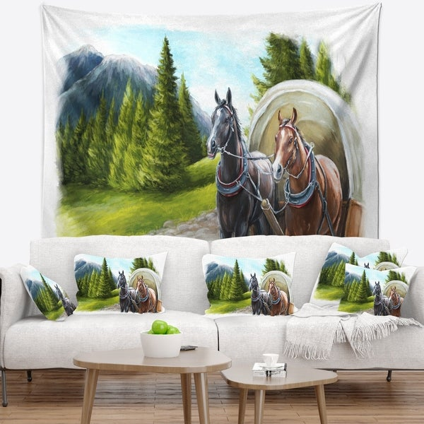 Designart 'Road in Mountains with Horses' Landscape Wall Tapestry