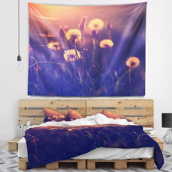 Designart 'Vintage Photo Of Dandelion Garden' Floral Wall Tapestry