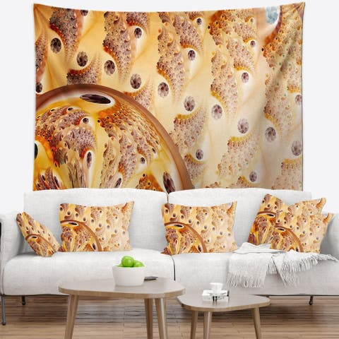 Designart 'Light Brown Fractal Flower Design' Abstract Wall Tapestry