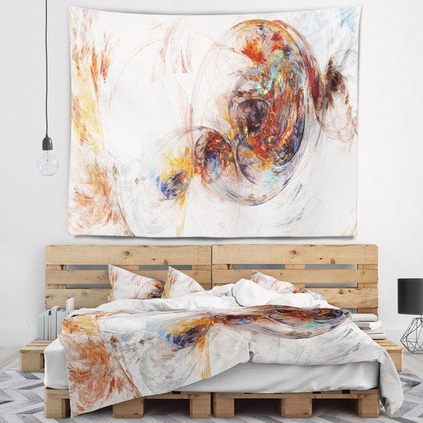 Designart 'Colored Smoke Brown' Abstract Wall Tapestry