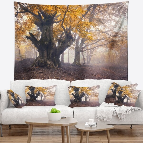 Designart 'Dark Tree with Yellow Leaves' Landscape Photography Wall Tapestry