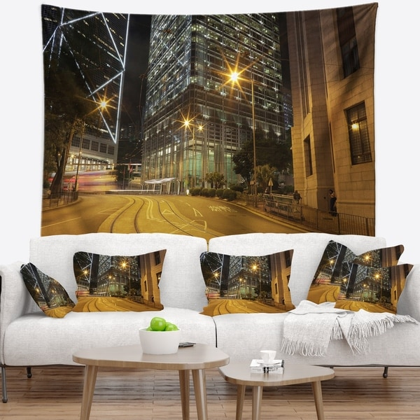 Designart 'Busy Traffic and City at Night' Cityscape Wall Tapestry