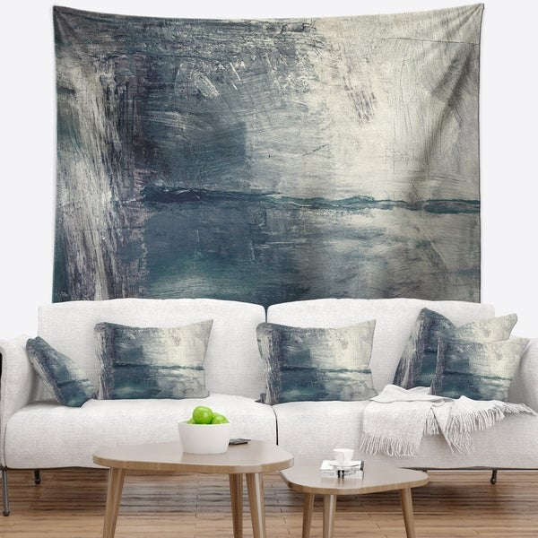 Designart 'Grey Abstract Pattern Oil Painting' Abstract Wall Tapestry