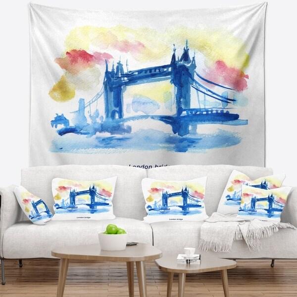 Designart 'London Hand drawn Illustration' Cityscape Painting Wall Tapestry