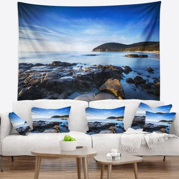 Designart 'Cala Violina Bay Beach in Maremma' Seashore Wall Tapestry