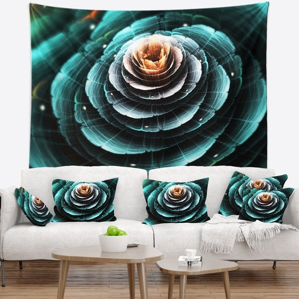 Designart 'Fractal Flower Clear Turquoise Digital Art' Floral Wall Tapestry