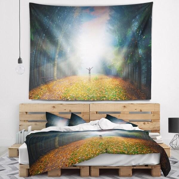 Designart 'Men and Bright Sunlight Panorama' Landscape Wall Tapestry