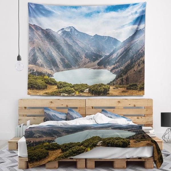 Designart 'Mountain Lake under Blue Sky' Landscape Wall Tapestry