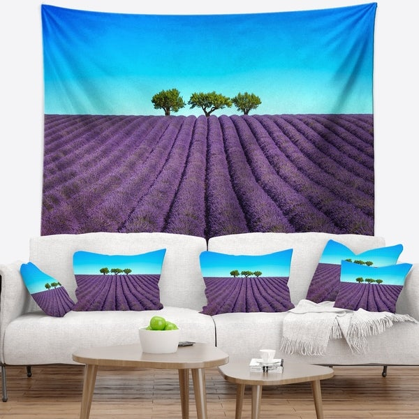 Designart 'Lavender Flowers and Uphill Green Trees' Landscape Wall Wall Tapestry
