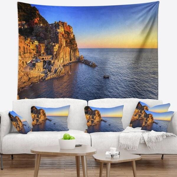 Designart 'Manarola Village Beach Panorama' Landscape Wall Wall Tapestry