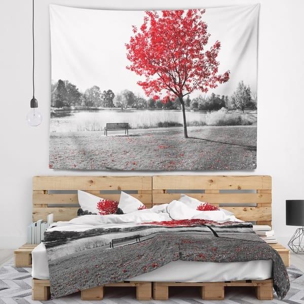 Wondrous Shop Designart Red Tree Over Park Bench Landscape Wall Ibusinesslaw Wood Chair Design Ideas Ibusinesslaworg