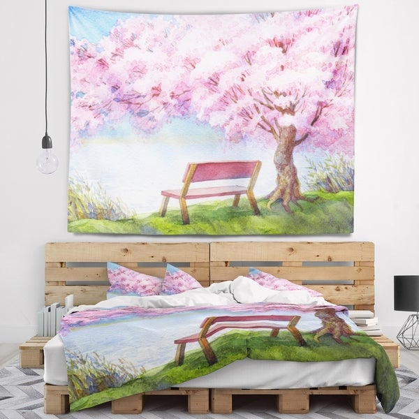 Designart 'Bench under Flowering Peach Tree' Floral Wall Tapestry