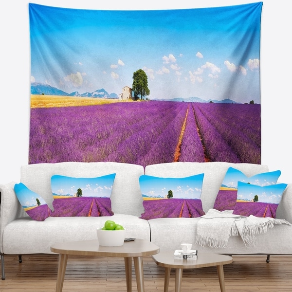 Designart 'Remote House and Tree in Lavender Field' Landscape Wall Wall Tapestry