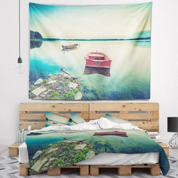 Designart 'Beautiful Lake Vintage View' Boat Wall Tapestry
