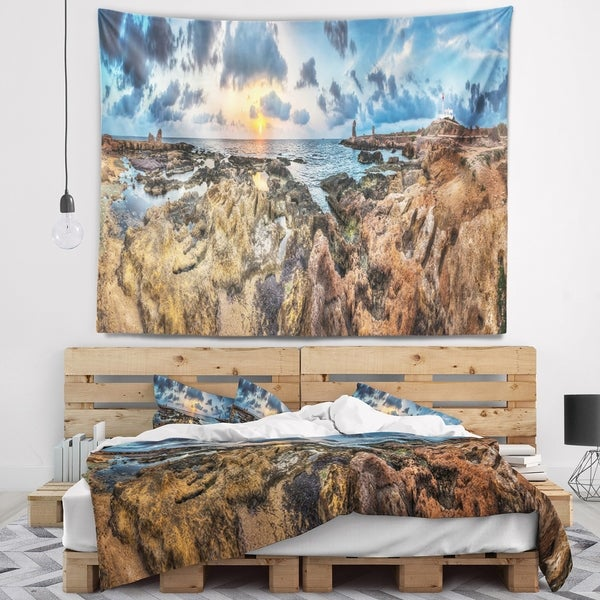 Designart 'Rocky with Historic Ruins Evening' Landscape Wall Tapestry