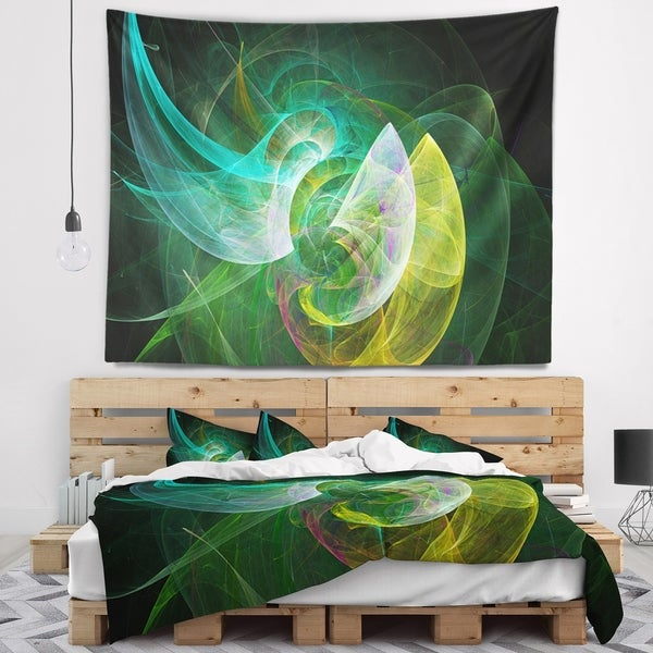 Designart 'Green Mystic Psychedelic Texture' Abstract Wall Tapestry