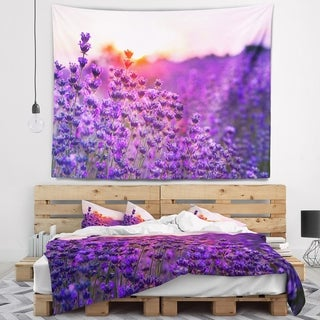 Designart 'Summer Sunset over Lavender Field' Floral Wall Tapestry