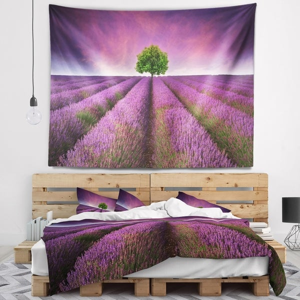 Designart 'Lavender Field Sunset with Single Tree' Floral Wall Tapestry