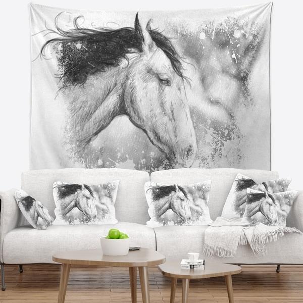Designart 'Horse Tattoo Art' Animal Wall Tapestry