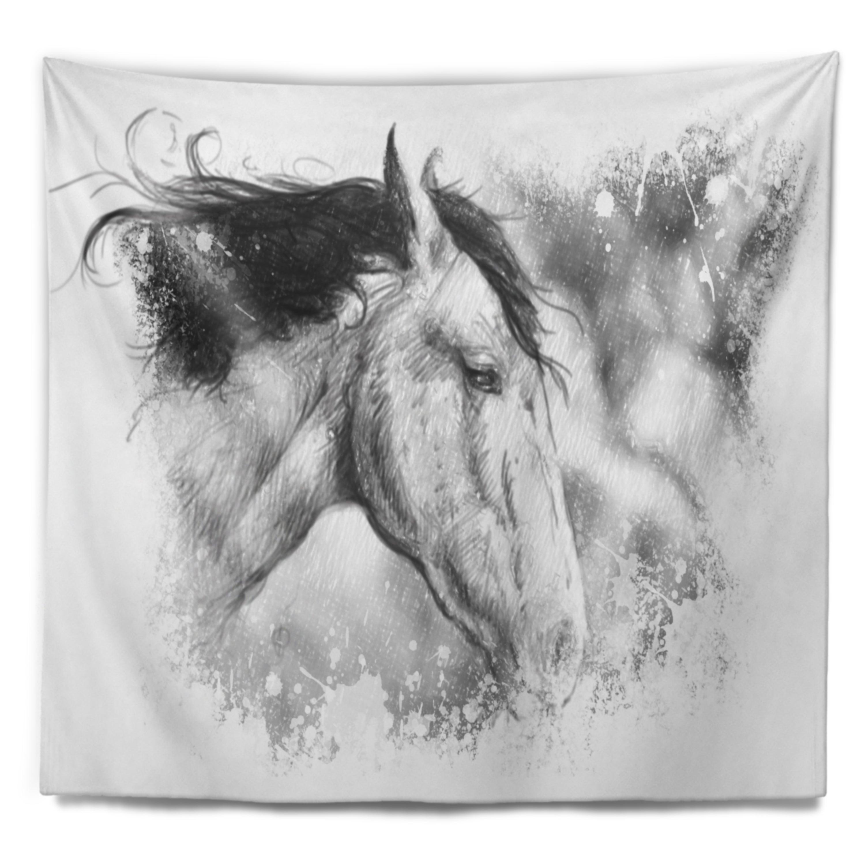 Designart Horse Tattoo Art Animal Wall Tapestry On Sale Overstock 20926240