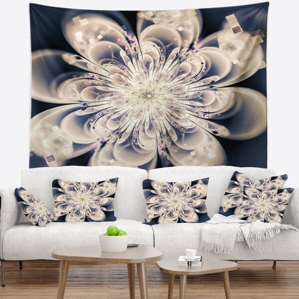 Designart 'White Fractal Flower' Modern Floral Wall Tapestry