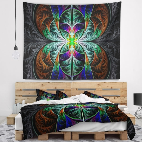 Designart 'Fabulous Blue Fractal Texture' Abstract Wall Tapestry