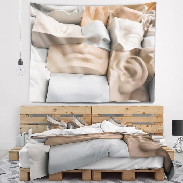 Designart 'Abstract Mannequin Blocks' Abstract Wall Tapestry