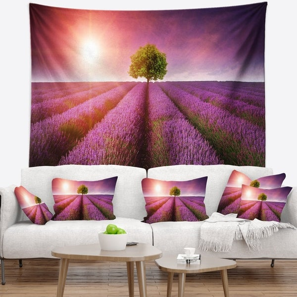 Designart 'Purple Sky over Stunning Lavender Field' Floral Wall Tapestry