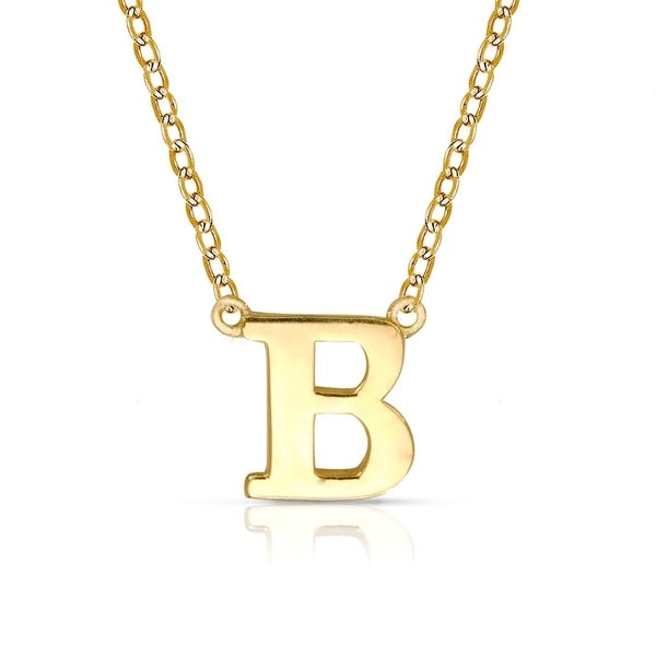 14k Gold Initial Pendant Necklace Curata solid 14k yellow gold delicate trendy polished block initial curata solid 14k yellow gold delicate trendy polished block initial pendant necklace 16 chain audiocablefo