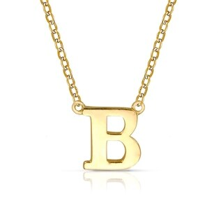 "Curata Solid 14k Yellow Gold Delicate Trendy Polished Block Initial Pendant Necklace (16"" chain attached) (6mm long)"