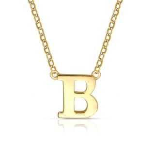 Initial necklaces find great jewelry deals shopping at overstock curata solid 14k yellow gold delicate trendy polished block initial pendant necklace 16 chain mozeypictures Image collections