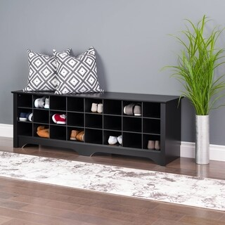Prepac 24 pair Shoe Storage Cubby Bench, Multiple Finishes - N/A