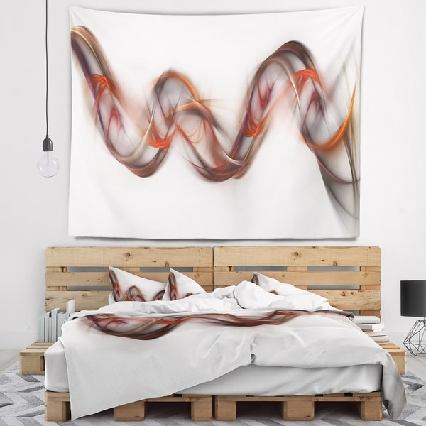 Designart 'Tangled Brown Silver Waves' Abstract Wall Tapestry