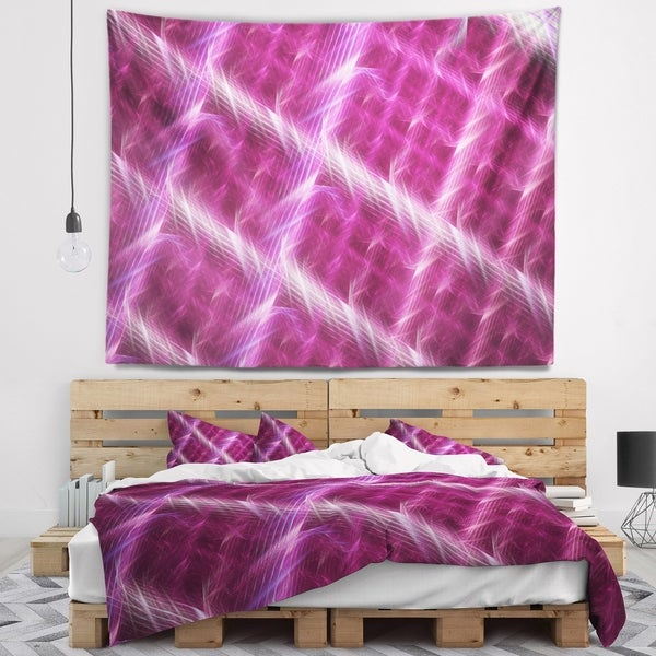 Designart 'Pink Abstract Metal Grill' Abstract Wall Tapestry