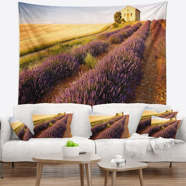 Designart 'Chapel with Lavender and Grain Field' Flower Wall Tapestry