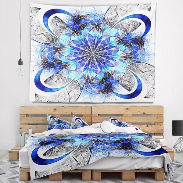 Designart 'Symmetrical Blue Fractal Flower' Abstract Wall Tapestry