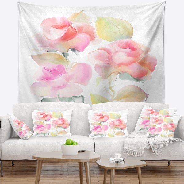 Designart 'Beautiful Pink Rose Flowers' Animal Wall Tapestry