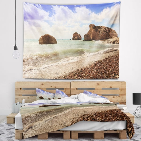 Designart 'Amazing Aphrodite s Rock in Cyprus' Seascape Wall Tapestry