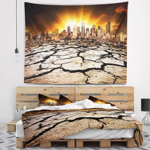 Designart 'City with Effect of Climate Change' Landscape Wall Tapestry