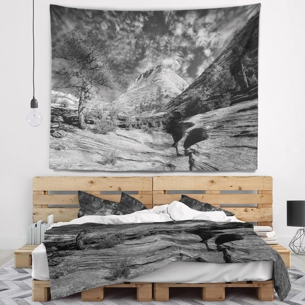 Designart 'Layers of Red Rock Gray with Clouds' Landscape Wall Tapestry