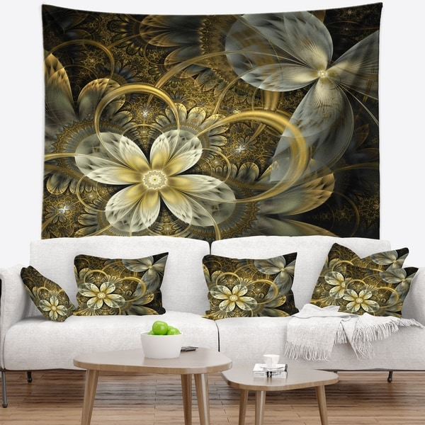 Designart 'Fractal Orange Yellow Flowers' Floral Wall Tapestry