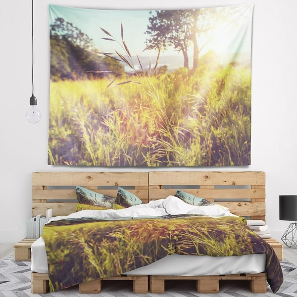 Designart 'Green Summer Meadow' Landscape Wall Tapestry