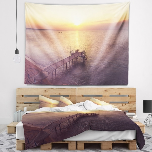 Designart 'Boardwalk over the Beach at Sunset' Bridge Wall Tapestry