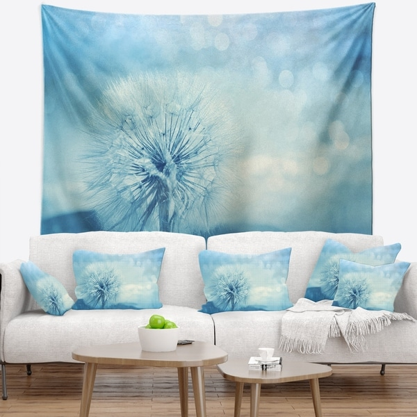 Designart 'Close Up White Dandelion with Filter' Flower Wall Tapestry