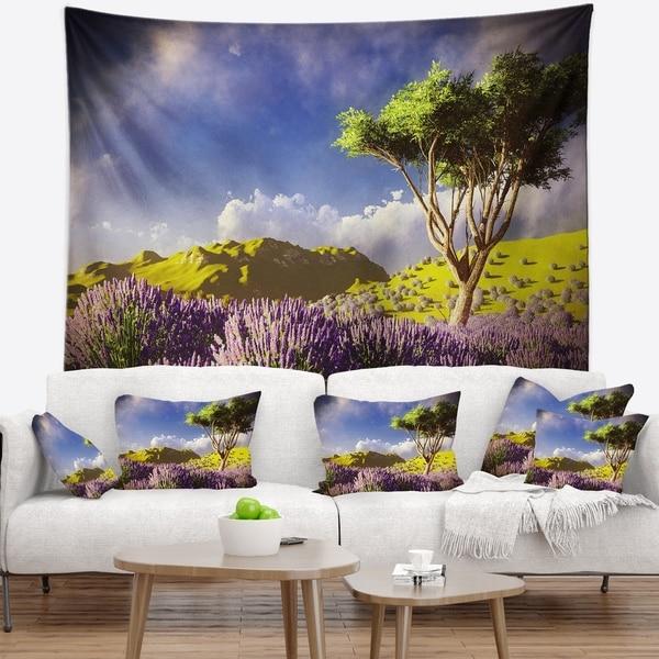 Designart 'Bright Lavender Garden Field' Modern Landscape Wall Tapestry