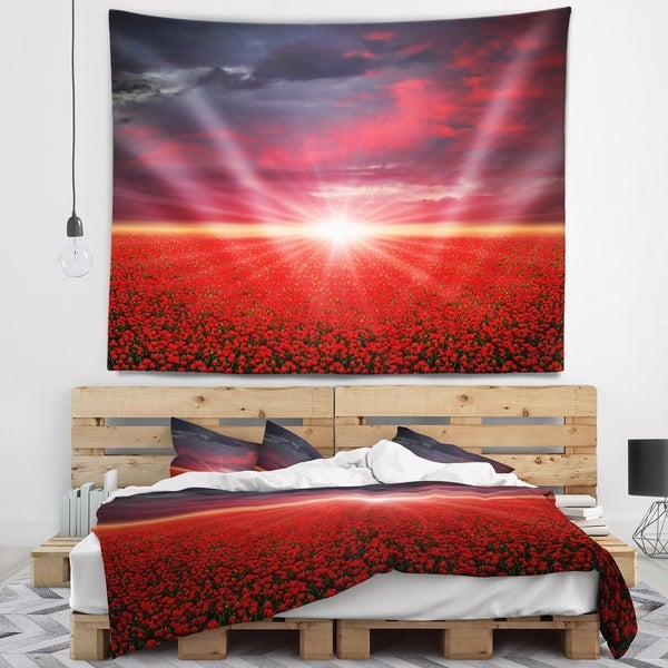 Designart 'Red Poppies Field at Sunset' Modern Landscape Wall Tapestry