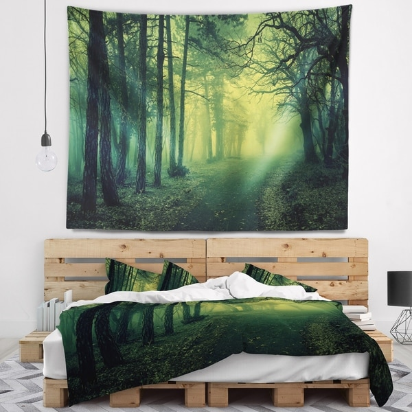 Designart 'Green Light in Thick Mist Forest' Landscape Photography Wall Tapestry
