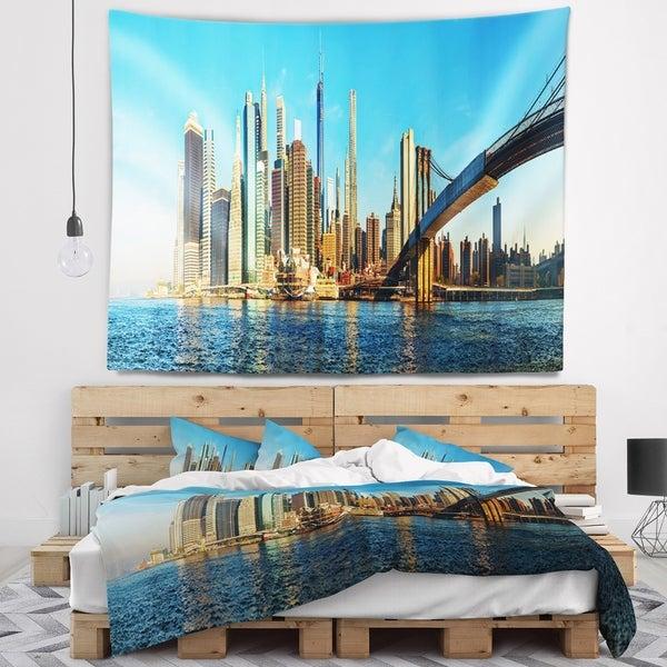 Designart 'New York City with Brooklyn Bridge' Cityscape Wall Tapestry